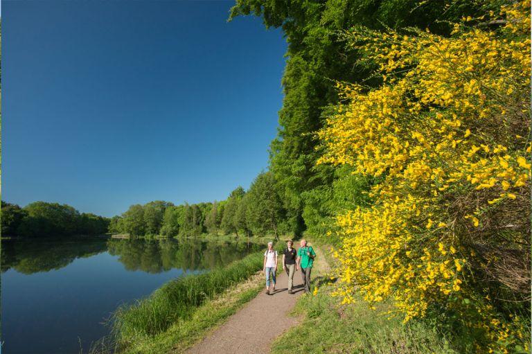 Wanderer am Holzmaar © Natur- und Geopark Vulkaneifel GmbH, Kappest